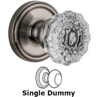 Grandeur Door Hardware - Georgetown - Privacy Knob - Georgetown Rosette with Fontainebleau Crystal Door Knob in Satin Nickel