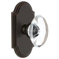 Grandeur Door Hardware - Arc - Grandeur Arc Plate Privacy with Provence Crystal Knob in Satin Nickel