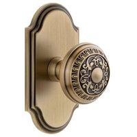 Grandeur Door Hardware - Arc - Grandeur Arc Plate Privacy with Windsor Knob in Satin Nickel