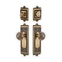 Grandeur Door Hardware - Windsor - Handleset - Windsor Plate with Windsor Knob & Matching Deadbolt in Vintage Brass