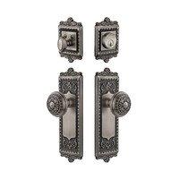 Grandeur Door Hardware - Windsor - Handleset - Windsor Plate with Windsor Knob & Matching Deadbolt in Antique Pewter