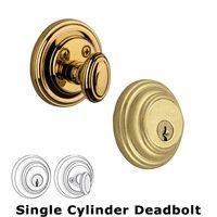 Grandeur Door Hardware - Georgetown - Grandeur Single Cylinder Deadbolt with Georgetown Plate in Timeless Bronze