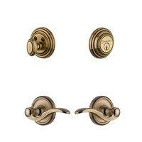 Grandeur Door Hardware - Georgetown - Handleset - Georgetown Rosette with Bellagio Left Handed Lever & Matching Deadbolt in Vintage Brass