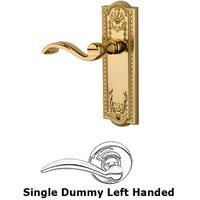 Grandeur Door Hardware - Parthenon - Single Dummy Left Handed Lever - Parthenon Plate with Portofino Door Lever in Lifetime Brass