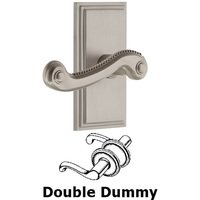 Grandeur Door Hardware - Carre - Privacy Carre Plate with Newport Right Handed Lever in Satin Nickel