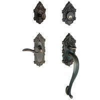 """Grandeur Door Hardware - Grande Victorian - Handleset - Grande Victorian with """"S"""" Grip and Left Handed Bellagio Door Lever in Satin Nickel"""