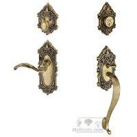 """Grandeur Door Hardware - Grande Victorian - Handleset - Grande Victorian with """"S"""" Grip and Left Handed Portofino Door Lever in Satin Nickel"""