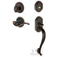 """Grandeur Door Hardware - Newport - Handleset - Newport with """"S"""" Grip and Bellagio Left Handed Lever in Timeless Bronze"""