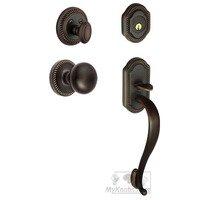 """Grandeur Door Hardware - Newport - Handleset - Newport with """"S"""" Grip and Fifth Avenue Knob in Satin Nickel"""
