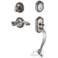 """Grandeur Door Hardware - Newport - Handleset - Newport with """"S"""" Grip and Portofino Left Handed Lever in Satin Nickel"""