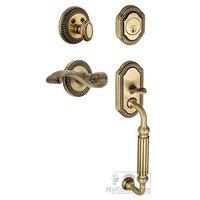 """Grandeur Door Hardware - Newport - Handleset - Newport with """"F"""" Grip and Portofino Right Handed Lever in Vintage Brass"""