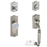 "Grandeur Door Hardware - Parthenon - Handleset - Parthenon with ""F"" Grip and Chambord Crystal Knob in Satin Nickel"