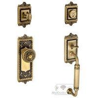 """Grandeur Door Hardware - Windsor - Handleset - Windsor with """"C"""" Grip and Windsor Knob in Vintage Brass"""