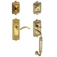 """Grandeur Door Hardware - Windsor - Windsor with """"F"""" Grip and Left Handed Portofino Door Lever in Satin Nickel"""