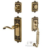 "Grandeur Door Hardware - Windsor - Handleset - Windsor with ""F"" Grip and Portofino Left Handed Door Lever in Vintage Brass"