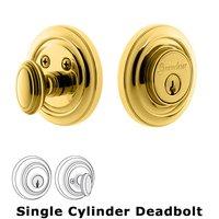Grandeur Door Hardware - Circulaire - Grandeur Single Cylinder Deadbolt with Circulaire Plate in Timeless Bronze