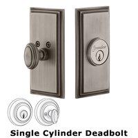 Grandeur Door Hardware - Carre - Grandeur Single Cylinder Deadbolt with Carre Plate in Timeless Bronze