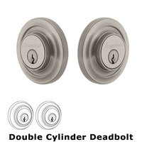 Grandeur Door Hardware - Circulaire - Grandeur Single Cylinder Deadbolt with Circulaire Plate in Timeless Bronze