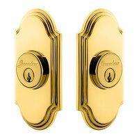 Grandeur Door Hardware - Arc - Grandeur Single Cylinder Deadbolt with Arc Plate in Timeless Bronze