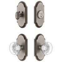 Grandeur Door Hardware - Arc - Handleset - Arc Plate With Bordeaux Crystal Knob & Matching Deadbolt In Satin Nickel