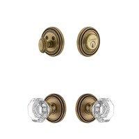 Grandeur Door Hardware - Soleil - Soleil Rosette With Chambord Crystal Knob & Matching Deadbolt In Satin Nickel