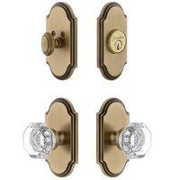 Grandeur Door Hardware - Arc - Handleset - Arc Plate With Chambord Crystal Knob & Matching Deadbolt In Satin Nickel
