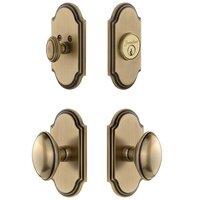 Grandeur Door Hardware - Arc - Handleset - Arc Plate With Eden Prairie Knob & Matching Deadbolt In Satin Nickel