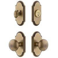 Grandeur Door Hardware - Arc - Handleset - Arc Plate With Fifth Avenue Knob & Matching Deadbolt In Satin Nickel