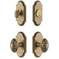 Grandeur Door Hardware - Arc - Arc Plate With Grande Victorian Knob & Matching Deadbolt In Satin Nickel