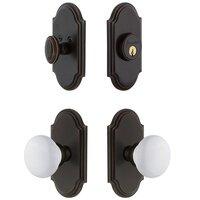 Grandeur Door Hardware - Arc - Handleset - Arc Plate With Hyde Park Porcelain Knob & Matching Deadbolt In Satin Nickel