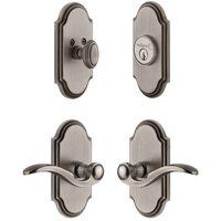 Grandeur Door Hardware - Arc - Handleset - Arc Plate With Bellagio Lever & Matching Deadbolt In Satin Nickel