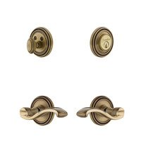 Grandeur Door Hardware - Soleil - Soleil Rosette With Portfino Lever & Matching Deadbolt In Satin Nickel