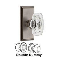 Grandeur Door Hardware - Carre - Carre - Privacy Knob with Baguette Clear Crystal Knob in Satin Nickel