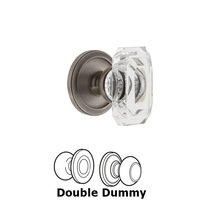 Grandeur Door Hardware - Circulaire - Circulaire - Privacy Knob with Baguette Clear Crystal Knob in Satin Nickel