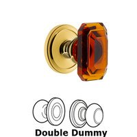 Grandeur Door Hardware - Circulaire - Circulaire - Double Dummy Knob with Baguette Amber Crystal Knob in Polished Brass