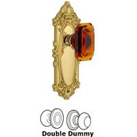 Grandeur Door Hardware - Grande Victorian - Grande Victorian - Privacy Knob with Baguette Amber Crystal Knob in Satin Nickel