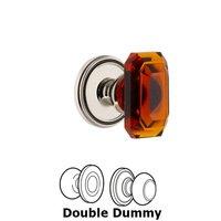 Grandeur Door Hardware - Soleil - Soleil - Double Dummy Knob with Baguette Amber Crystal Knob in Polished Nickel