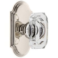 Grandeur Door Hardware - Arc - Arc - Privacy Knob with Baguette Clear Crystal Knob in Satin Nickel