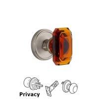 Grandeur Door Hardware - Georgetown - Georgetown - Privacy Knob with Baguette Amber Crystal Knob in Satin Nickel