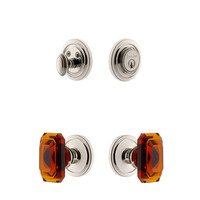 Grandeur Door Hardware - Circulaire - Handleset - Circulaire Rosette With Amber Baguette Crystal Knob & Matching Deadbolt In Satin Nickel