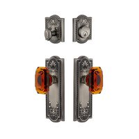 Grandeur Door Hardware - Parthenon - Parthenon Plate With Amber Baguette Crystal Knob & Matching Deadbolt In Satin Nickel