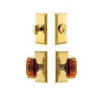 Grandeur Door Hardware - Carre - Handleset - Carre Plate With Amber Baguette Crystal Knob & Matching Deadbolt In Satin Nickel