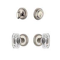 Grandeur Door Hardware - Newport - Handleset - Newport Rosette With Baguette Crystal Knob & Matching Deadbolt In Satin Nickel