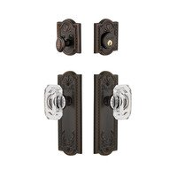 Grandeur Door Hardware - Parthenon - Handleset - Parthenon Plate With Baguette Crystal Knob & Matching Deadbolt In Timeless Bronze