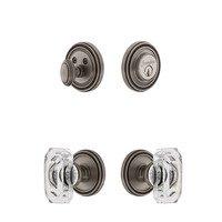 Grandeur Door Hardware - Soleil - Soleil Rosette With Baguette Crystal Knob & Matching Deadbolt In Satin Nickel