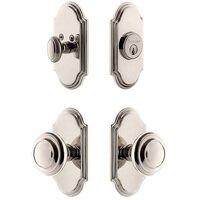 Grandeur Door Hardware - Arc - Handleset - Arc Plate With Circulaire Knob & Matching Deadbolt In Satin Nickel