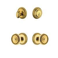 Grandeur Door Hardware - Newport - Handleset - Newport Rosette With Soleil Knob & Matching Deadbolt In Satin Nickel