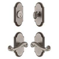 Grandeur Door Hardware - Arc - Handleset - Arc Plate With Newport Lever & Matching Deadbolt In Satin Nickel