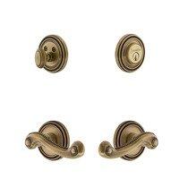 Grandeur Door Hardware - Soleil - Soleil Rosette With Newport Lever & Matching Deadbolt In Satin Nickel