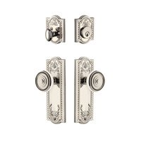 Grandeur Door Hardware - Parthenon - Parthenon Plate With Soleil Knob & Matching Deadbolt In Satin Nickel